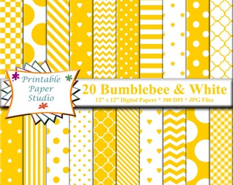 Bumblebee Yellow Digital Paper Pack, Yellow Scrapbook Paper, Yellow Colored Paper, Digital Scrapbook Element, Instant Download Digital File