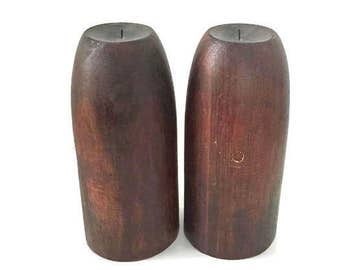 Wood Pillars, Set of Two Candle Holders, Perfect for floor or table. Minimalist, Modern Look.
