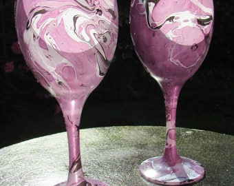 Millennium Purple Marble Swirl Wine Glasses (pair)