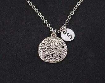 sand dollar necklace, initial necklace, silver sand dollar charm, nautical necklace, gifts for bridesmaid, wedding on beach, sea ocean charm