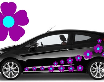 20,purple & blue flower car decals,stickers in three sizes