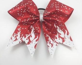 Cheer Bow: Red and White Flame Custom Hair Bow, Silver Glitter and Rhinestone Team Bow for Softball or Volleyball Also!