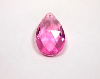 1 Crystal Pink Teardrop, 50mm, Crystal, Pink, Teardrop, Pendant, Bead Supply, Jewelry Making, Supplies, Craft Supply, Beads, Jewelry Supplie