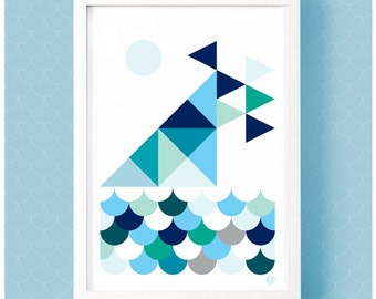 Geometric graphic print of ships on the Estuary at Leigh-on-Sea