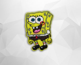 Spongebob Iron on Patch(M2)-Cartoon Applique Embroidered Iron on Patch-Size 5.3x7.0cm