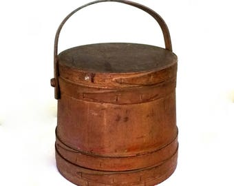 Large Primitive Rustic Cheese / Pantry Box Round Bent Wood