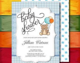 Baby Shower Invitation, Baby Invite, Shower Invite, Blue, Diamonds, Teady Bear, DIY, Template, Editable PDF, Printable Instant Download T28A