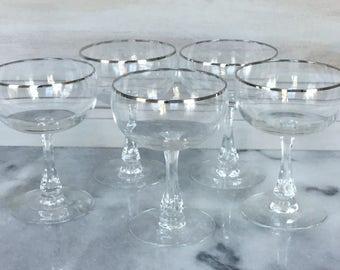 Vintage Fostoria Champagne Coupes /  Platinum Banded Champagne Glasses