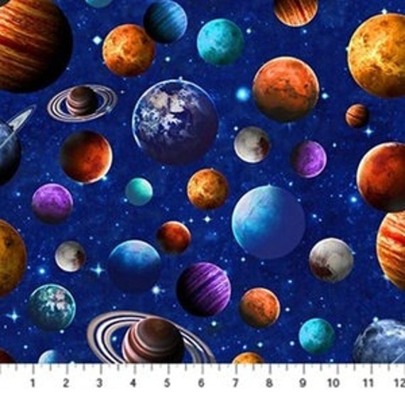 Across The Universe Planets Fabric Planets On Blue