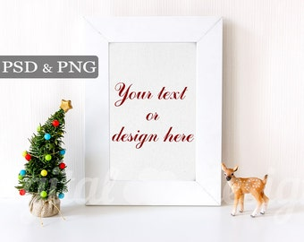 Styled Stock Photography Baby Deer Christmas Tree Vertical Mockup Download Frame Empty Art Frame Product Digital Background  Photo
