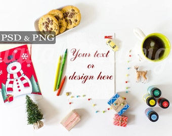 Christmas White Desktop Mockup Styled Stock Photography Letter to Santa Claus Vertical Book Noel Stock Photo Mockup Christmas Gift