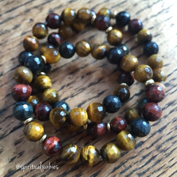 Stackable Mala Inspired Blue, Red + Golden Tigers Eye Spiritual Junkies Yoga and Meditation Bracelet (single bracelet)