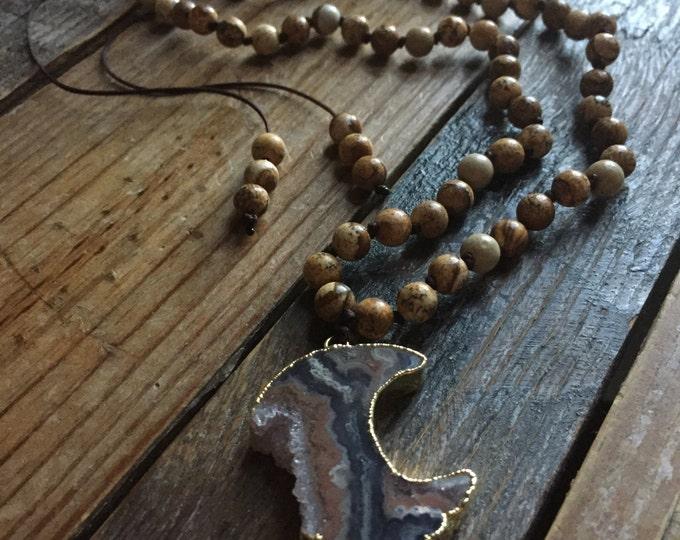 Adjustable 54 Bead Handknotted Picture Jasper + Amethyst Drusy Crescent Moon Spiritual Junkies Yoga and Meditation Mini Mala