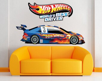 Hot Wheels Boys Room Decals Wall Vinyl World's Best Driver Kids Bedroom Art Racecar Mural Race Car Flames Wall Toys Removable Art , s36