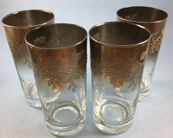 Set of four silver fade embossed drinking glasses
