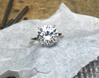 Diamond Engagement Ring, Engagement Ring, 4.00ct. Engagement Ring, Round Engagement Ring, CZ Engagement Ring, CZ Solitaire Ring