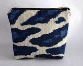 Royal Blue Upcycled Cosmetic Pouch with Zipper Close. Blue and White Print Bag Made with Recycled Fabric. Flat Bottom Pouch