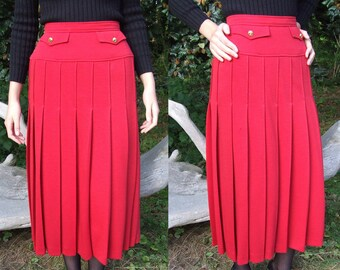 Vintage Chanel Boutique Ruby Red Maxi Skirt, Size 38 - 1980's Rare Drop Waist Design, Pleated Wool & Silk Skirt, Authentic Chanel Clothing