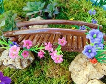 Fairy Bridge, OOAK mini doll accessories, dollhouse bridge,fairy wooden bridge,flower bridge,twig bridge,miniature bridge, fairy accent