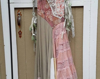 Altered couture dress  in a variety of different summer colors, vintage lace  and hand embroidery, summer fun.