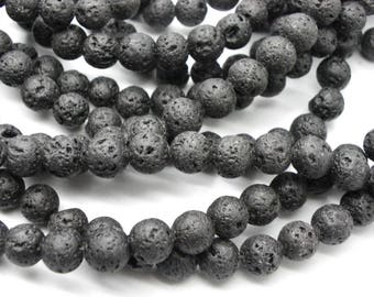 50 pearls of natural black lava with faults