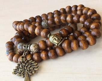 Mala Prayers Bead,Natural Wood Beads,Jasper Leopard Stone,108 Mala Bracelet,Yoga Necklace 108,Tibetan Mala Meditation,Tree of Life,Zen Mala