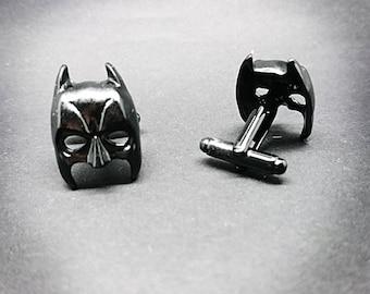 Batman cufflinks men's black or silver plated Dark Knight cufflinks DC Superhero cufflinks