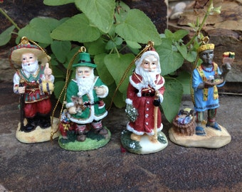 Vtg International Santa Claus Ornament Collection France Mexico Ireland Africa