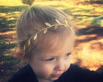 Gold vine headband, gold headband, baby headband, kids headband, golden leaves headband, adult vine headband, golden vine headband