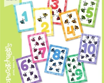 Preschool Printable Flashcards, Educational Counting Flashcards