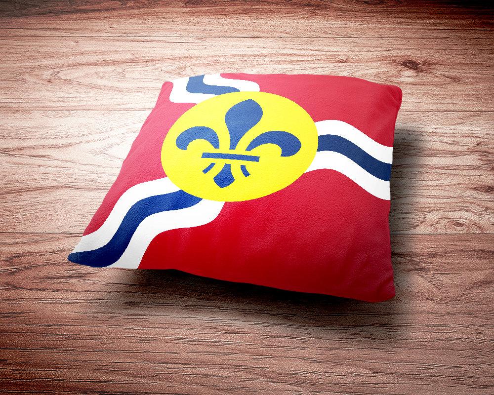 St. Louis Flag Throw Pillow - St. Louis Missouri Flag Throw Pillow