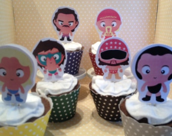 Wrestling Party Cupcake Toppers - Set of 10