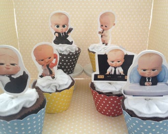 Boss Baby Party Cupcake Topper Decorations - Set of 10
