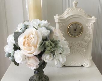 Floral home decor - shabby chic flowers - cottage chic decor - romantic wedding decor - shabby chic rose decor - silk flower arrangement