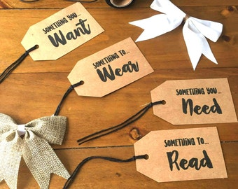 4 Pack | Simplicity Gift Tags - Want, Need, Wear & Read | Deluxe Wrapping | Rustic Christmas