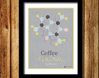 Chemistry molecule print Coffee print, Caffeine print, caffeine molecules, science print, periodic table print, Wall decor.Atoms, chemistry