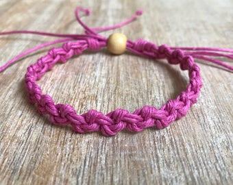 Pink Hemp Anklet, Braided Anklet, Macrame Anklet, Surfer Anklet, Macrame Bracelet, Friendship Bracelet, Beach Anklet, Hemp Bracelet HA001067