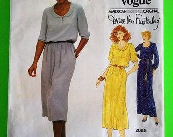 """70s Diane Von Furstenberg DRESS, UNCUT, F/F, Size 10, Bust 32"""" (83cm), Vogue American Designer Original 2065."""