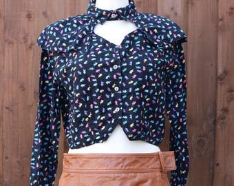 Dinosaur Print Blouse with Cut Out Neckline
