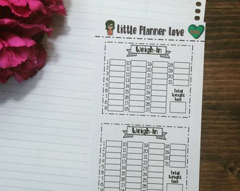 Weigh-In Tracker Note Page Planner Stickers