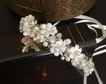 Pearl Wedding Headband, Bridal Hair Accessories, Wedding Headpiece, Tiara, Pearl, Rhinestone, Flower