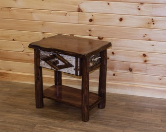 Rustic Live Edge Red Cedar Log End Table / Night Stand / Side Table   1