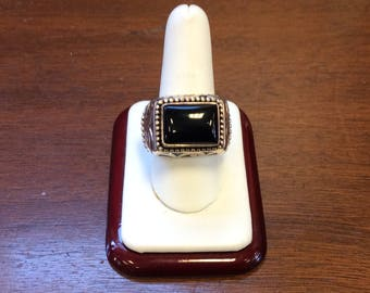Native American Style Black Onyx Silver Men's Ring