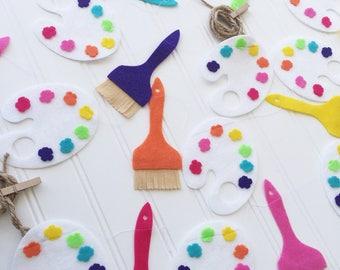 Paint Party- Paint Parties- Paint Brush Banner-Paint Party Banner-Paint Palette- Felt Garland- 3rd Birthday Party- Paint Party Decor-Paint