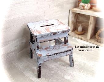 Miniature stool style ikea- scale 1:12- Dollhouse miniature