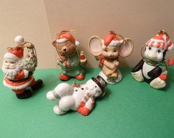 Christmas Ornaments by: 7 Eleven, Citgo, Set of 5, Circa 1992