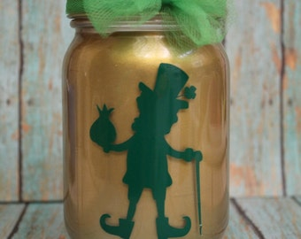 Leprechaun Lantern, pint mason jar, 16 oz,  tea ligh included