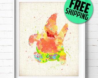 FREE SHIPPING- Patrick Star, SpongeBob SquarePants art print, poster, watercolor, illustration, nursery kids, gift, wall art, home decor 205