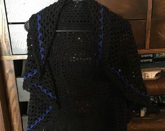 Blue line black circle vest
