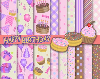 Happy Birthday digital paper pack download, party pattern background printable for scrapbook, birthday cake, cupsake, tarts, balloons.